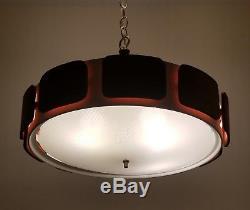 Mid Century Pendant Lamp /Light Space Age Teak 4 Socket Lava Oange Glow