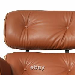 Mid-Century Plywood Lounge Chair & Ottoman Premium Light Brown Leather Walnut
