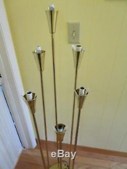 Mid Century Regency CALLA LILLY 6 Flower Bulb Floor Lamp Light 41 ½T WORKS Vtg