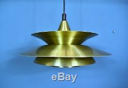 Mid Century Retro Danish Gold Metal Ceiling Pendant Light 1970s