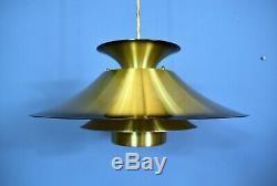 Mid Century Retro Danish Gold Metal Ceiling Pendant Light 1980s