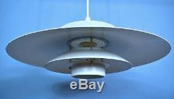 Mid Century Retro Danish White Jeka Metal Ceiling Pendant Light Early 2000s