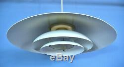 Mid Century Retro Danish White Metal Ceiling Pendant Light 1970s