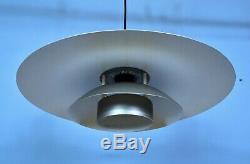 Mid Century Retro Vintage Danish Grey Metal Ceiling Pendant Light 1970s