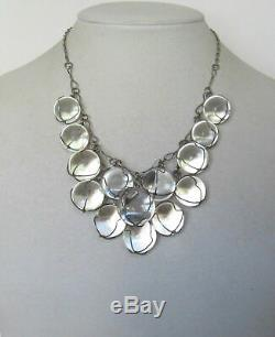 Mid Century Rock Quartz Orbs Pools of Light Sterling Bubble Necklace