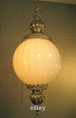 Mid Century Vintage Pendant Ceiling Light Pair (2) Fluted Glass Globe Restored