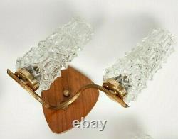 Mid Century Wall Lights 2 Arm Ice Glass Brass & Wood Danish Style Sconce Vintage