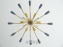 Mid century 18 lights STILNOVO SPUTNIK ceiling lamp copper, 1950 1960 panton eam