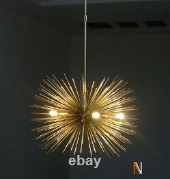 Mid century 5 Bulbs Gold Brass Sphere Urchin Chandelier Sputnik Light Fixture