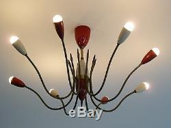 Mid century 8 lights STILNOVO Arredoluce SPUTNIK ceiling lamp, panton sarfatti