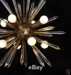 Mid century Modern Brass & Acrylic Crystal Rock Sputnik Chandelier Light Fixture
