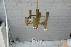 Mid century SA Boulanger design SCIOLARI 7 lights gold tube chandelier