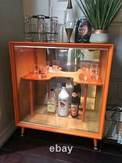 Mid century bar cabinet with light inside
