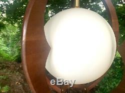 Mid century modern walnut pendant swag light danish