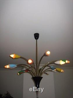 Midcentury Stilnovo Arredoluce 12 light chandelier lamp sputnik, sarfatti