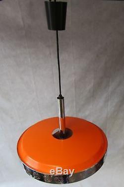 Midcentury Vintage 1970s Large Orange Chrome UFO Hanging Pendant Light Rewired
