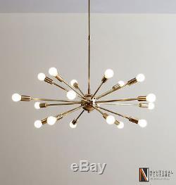 Modern Brass Mid century style starburst sputnik light fixture 18 arm chandelier