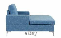 Modern Chaise Lounge, Mid Century Linen Fabric Classic Chair (Light Blue)