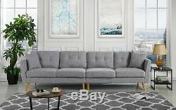 Modern Family Room Couch Upholstered Large Fabric Sofa, 114.9 W (Light Grey)