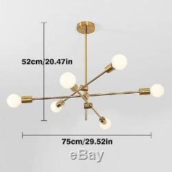 Modern Gold Metal Sputnik Chandelier Mid Century Ceiling Pendant Lighting