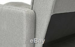 Modern Linen Casual Fabric Futon Sectional Sofa, Pillows, 110.6 Wide Light Grey