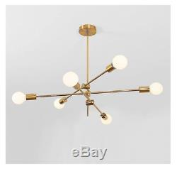 Modern Mid Century Brass Sputnik 3 Arms 6 Light Chandelier Pendant Lamp Ceiling