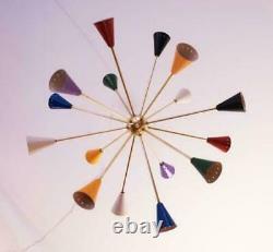 Modern Mid Century Chandelier Sputnik Colourful Vintage Light Fixture