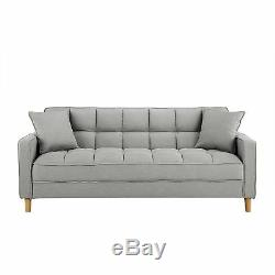 Modern Small Space Living Room Sofa Linen Fabric Square Tufted Couch, Light Grey