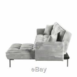Modern Velvet Fabric Futon Sectional Sofa, 110.6 W inches, Light Grey