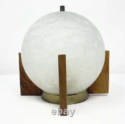 Moe MID Century Danish Modern Vintage Ceiling Light Crackle Globe Teak/walnut