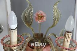 Murano Venetian hand blown art glass Wall light sconce pink amber mid century