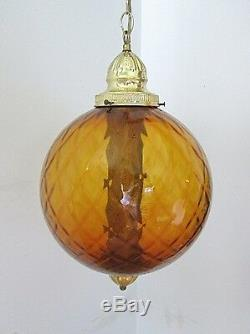 NOS IN BOX Vtg Mid Century Modern Amber Dimple Glass Round Pendant Swag Light