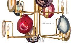 New Modern Agate Stone Chandelier 10-Light Gold Pendant Dining Room Mid Century