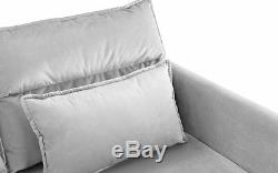 New Modern Sofa Set 88.1 Velvet L-Shape Sectional with Large Ottoman, Light Grey