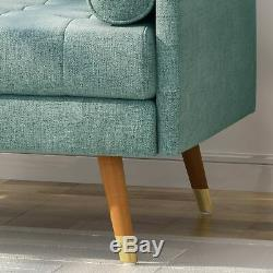Nour Mid Century Modern Button Tufted Fabric Club Chair with Rolled Accent Pillows