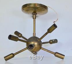 ORIGINAL VTG 1950s BRASS SPUTNIK CHANDELIER Mid Century Modern Lamp Light