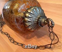 Old Vtg Crinkle Crackle Amber Glass MID Century Hanging Ceiling Light Swag Lamp
