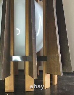 Old Vtg MID Century Modern Hanging Wood Slat Shade Ceiling Light Fixture Chain