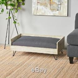 Ophelia Mid-Century Modern Cushioned Wood Frame Dog Bed