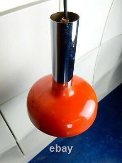 Orange enamel opaline glass pendant lights retro mid century vintage industrial