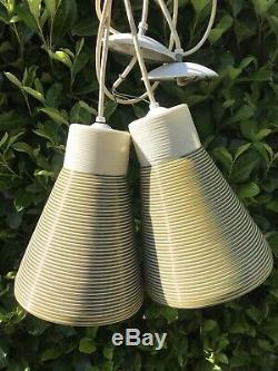 PAIR Vtg Heifetz Rotaflex Pendant Lamp Mid Century Light LAMP