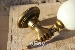 PAIR mid century Maison jansen bronze hand sconces wall lights opaline shades