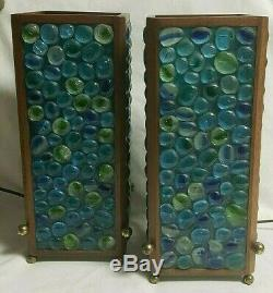 Pair MID Century Modern Mosaic Table Accent Lamps Lights Designer Palm Springs
