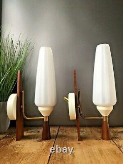 Pair Of MID Century Modern White Rippled Glass Danish Teak Wall Light Sconces