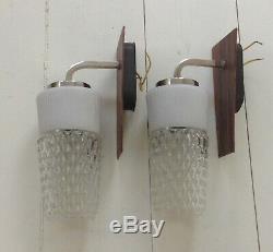 Pair Vintage Mid Century Danish Glass Teak Wall Light Lamps Sconces Chrome