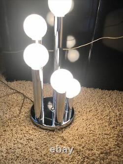 Pair of Mid Century Modern 5 Light chrome Waterfall Table Lamps, Excellent