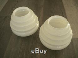 Pair of Opaline Glass PENDANT LIGHTS in White Mid Century, Vintage, 1940/50s