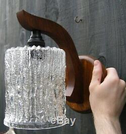 Pair x2 Danish Retro Mid Century Teak Wall Light Lamp Sconce Single Arm 60s/70s