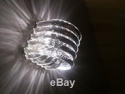 Petite Ribbon Lucite Light Fixture Brass Mid Century Modern Lamp Acrylic Vintage