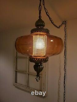 REWIRED Amber Swag Hanging Light Glass Globe Mid Century Lamp Plug in 2 AVAILABL
